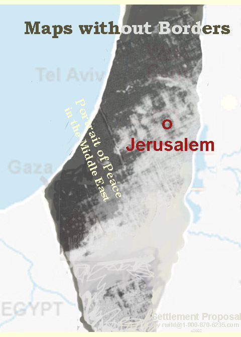 This map shows a portrait of a peaceful settlement of Israel using a very detailed map without borders...
